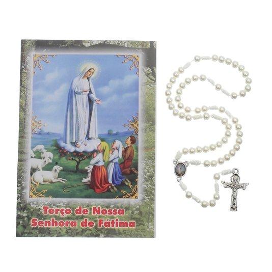 Terço com folheto de Nossa Senhora de Fátima - 06 UN