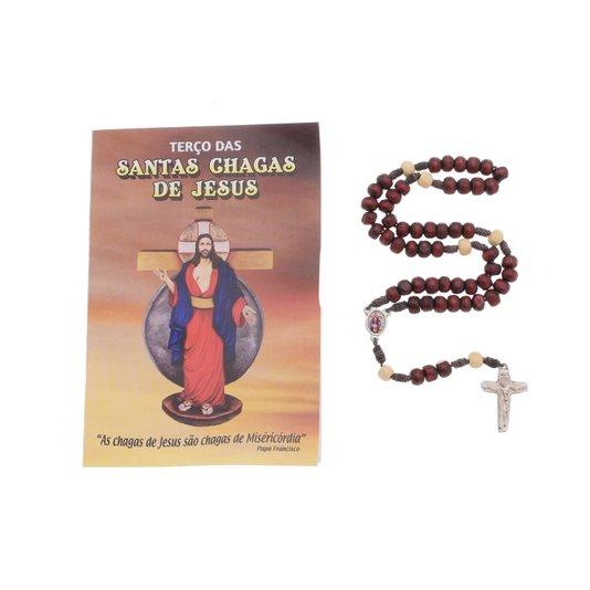 Terço com folheto Santas Chagas - 6 UN