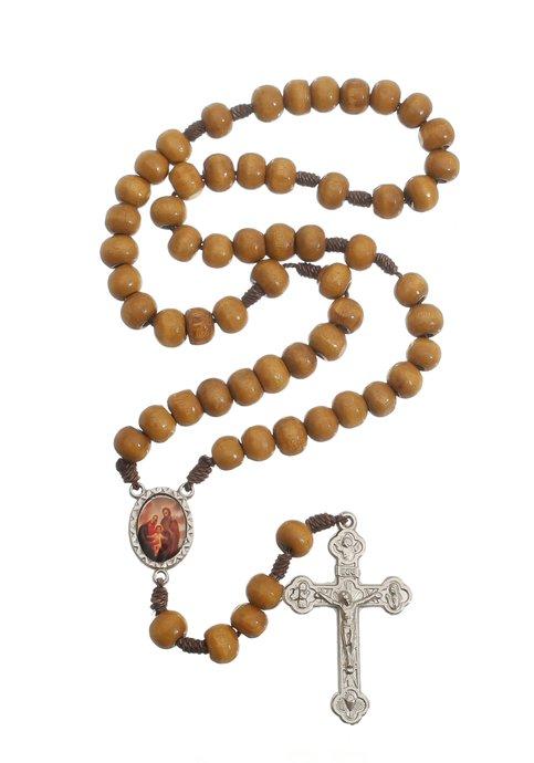 Terço da Sagrada Família de maderia - Marrom claro