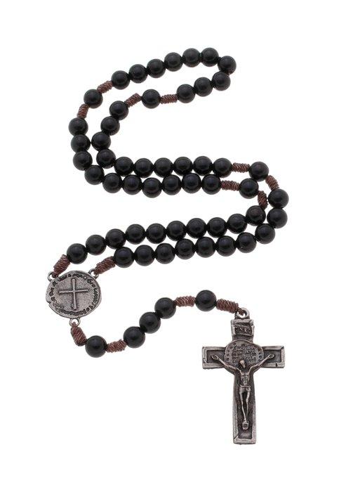 Terço das duas cruzes - preto