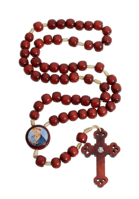 Terço Mães que oram pelos Filhos madeira Pau Brasil