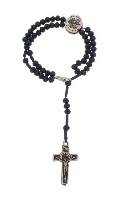 Terço de pulso Medalha das duas Cruzes cristal - azul marinho