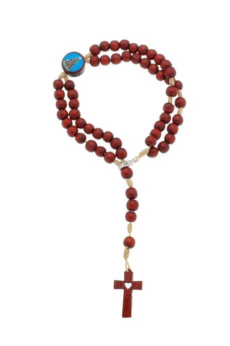 Terço de pulso Nossa Senhora Aparecida - madeira Pau Brasil