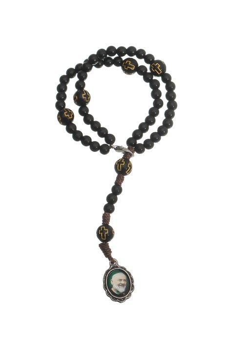 Terço de pulso Padre Pio - Preto 3un