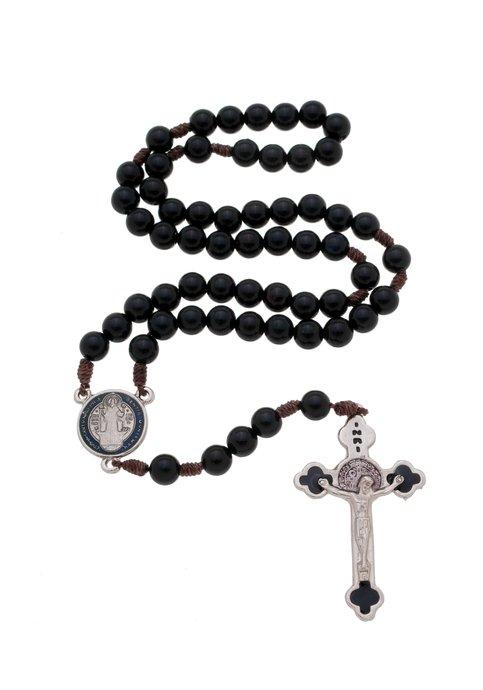 Terço de São Bento com medalha e cruz pintada - preto