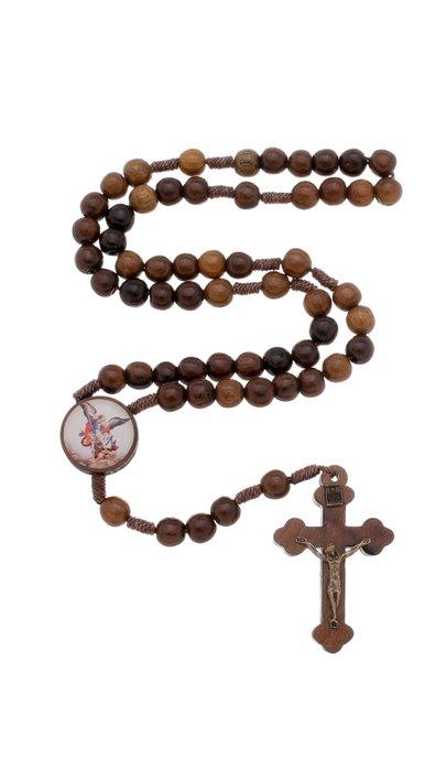 Terço de São Miguel Arcanjo em madeira - 8mm