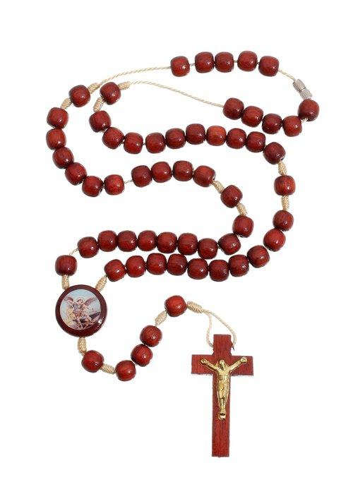 Terço de São Miguel para pescoço de madeira pau Brasil