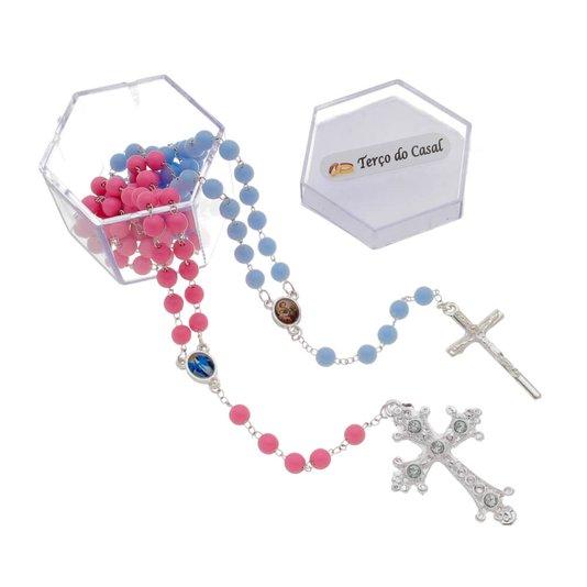 Terço do Casal pérola - Azul e Rosa 6mm