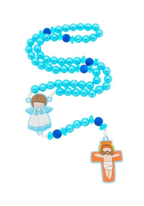 Terço Infantil com anjo emborrachado - azul claro