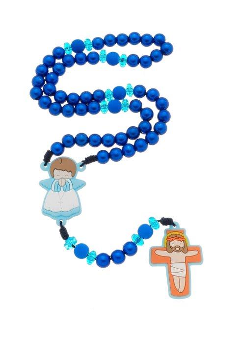 Terço Infantil com anjo emborrachado - azul marinho