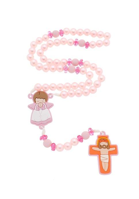 Terço Infantil com anjo emborrachado - rosa