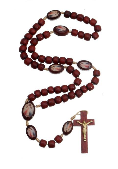 Terço Jesus Misericordioso em madeira Pau Brasil - 8mm