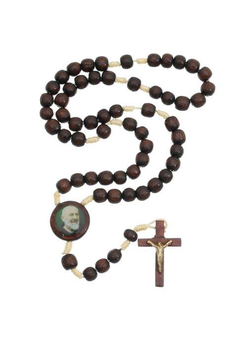 Terço Padre Pio madeira - Marrom 8mm