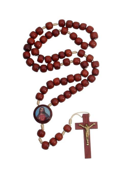 TERÇO NOSSA SENHORA APARECIDA E SAGRADO CORAÇÃO DE JESUS DE MADEIRA PAU BRASIL