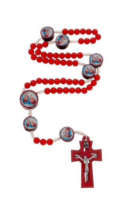 Terço Sagrado Coração de Jesus e Maria com entremeio - vermelho  6mm