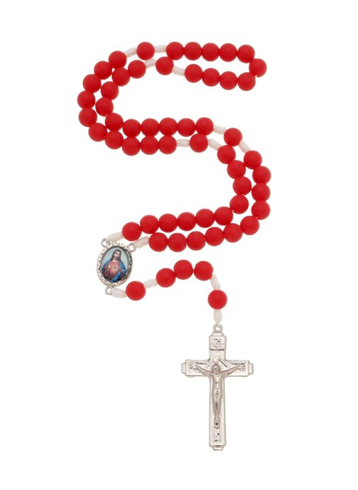 Terço Sagrado Coração de Jesus e Maria - vermelho 8mm
