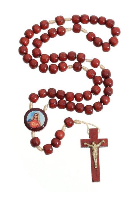 Terço Sagrado Coração de Maria em madeira Pau Brasil