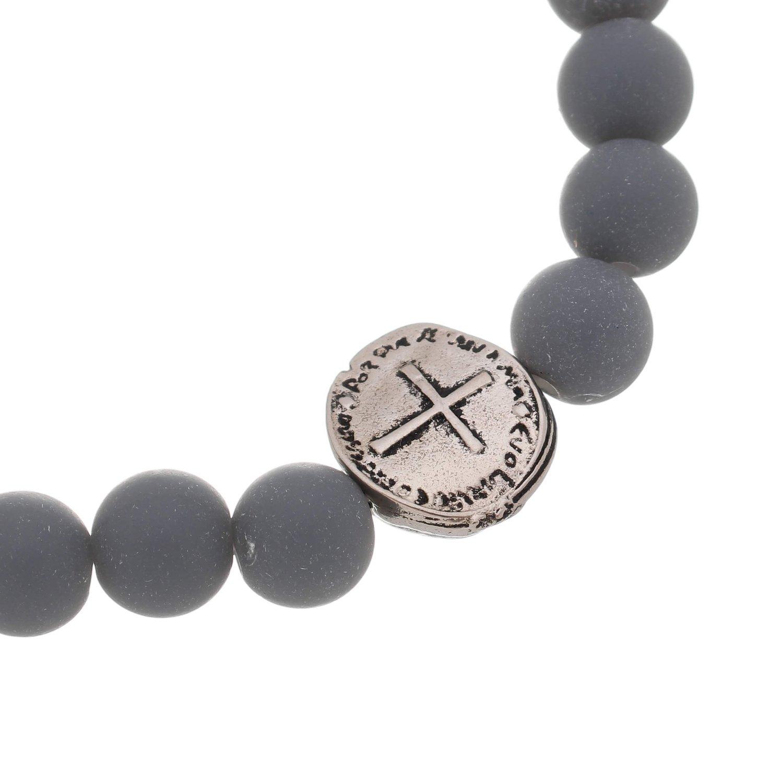 Pulseira medalha das Duas Cruzes feminina - cinza