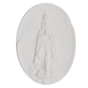 Aplique Nossa Senhora de Fátima em resina 11x8 cm