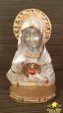 Busco Sagrado Coração de Maria em resina - Pérola 12cm