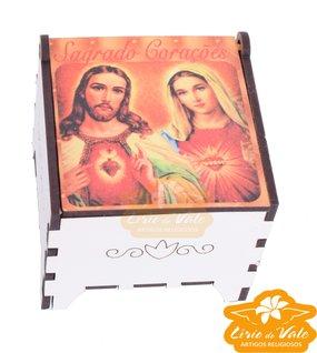 Porta terço Sagrado Coração de Jesus e Maria