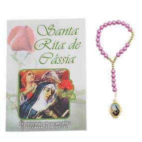 Terço com folheto de Santa Rita de Cássia - 06 UN