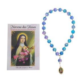 TERÇO COM FOLHETO DE SANTA TERESINHA DO MENINO JESUS - 6UNID - UN. R$3,49