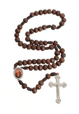 Terço da Sagrada Família de maderia - Marrom escuro