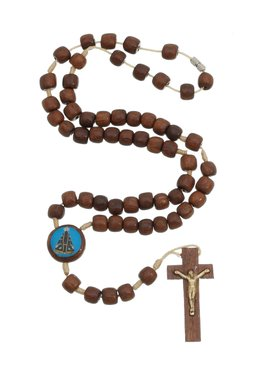 TERÇO DE PESCOÇO NOSSA SENHORA APARECIDA E SAGRADO CORAÇÃO DE JESUS EM MADEIRA