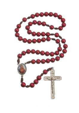 Terço do Sagrado Coração de Jesus e Maria - Vermelho 7mm
