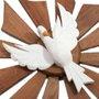 Divino Espírito santo de madeira com pombo branco 32cm