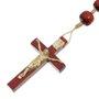 Terço de Sagrado coração de Jesus e Nossa Senhora Aparecida pau brasil 12mm