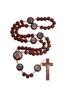 Terço Sagrado Coração de Jesus e Maria madeira Pau Brasil
